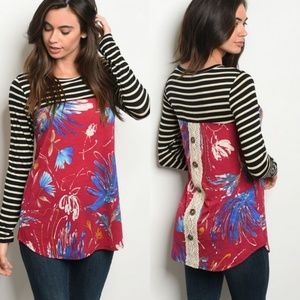 Floral and striped tunic top with lace back